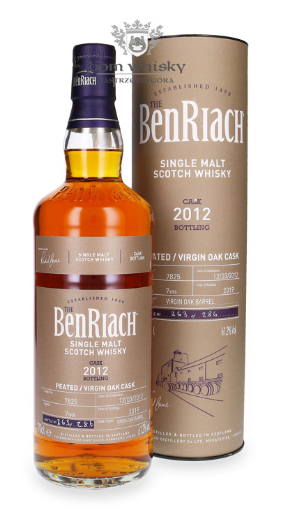 BenRiach 2012, 7-letni Peated Virgin Oak (Cask # 7825) /61,2% / 0,7l