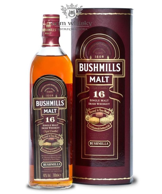 Bushmills 16 letni Three Wood Old Label /Tuba/ 40% / 0,7l