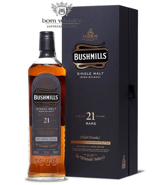 Bushmills 21-letni (Matured in Three Woods) / 40%/ 0,7l