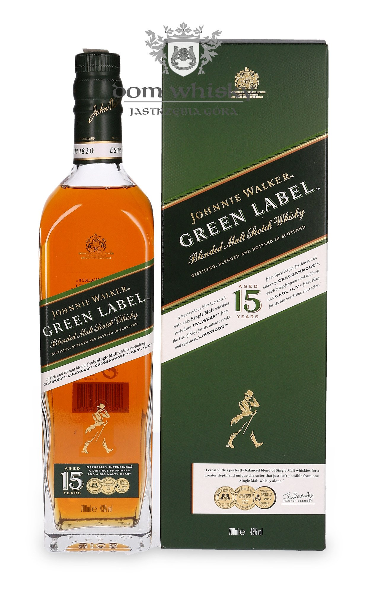 Johnnie Walker Green Label 15 Letni Blended Malt 43 0 7l Dom Whisky