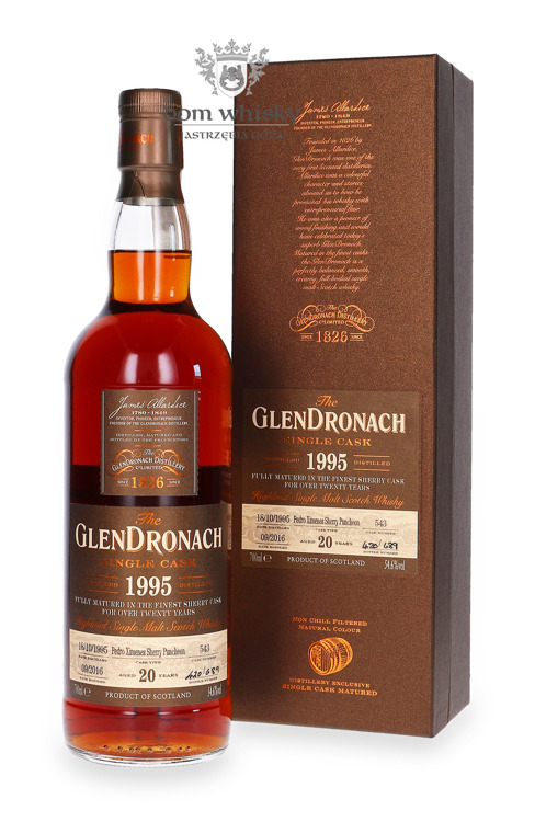 GlenDronach 20-letni (D.1995 B.2016) Single Cask # 543 /54,6%/0,7l
