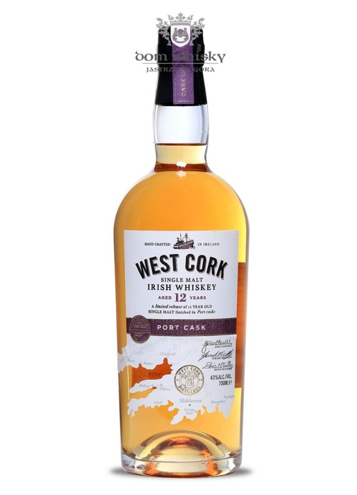 West Cork Irish SIngle Malt, 12-letni Port Cask / 43% / 0,7l